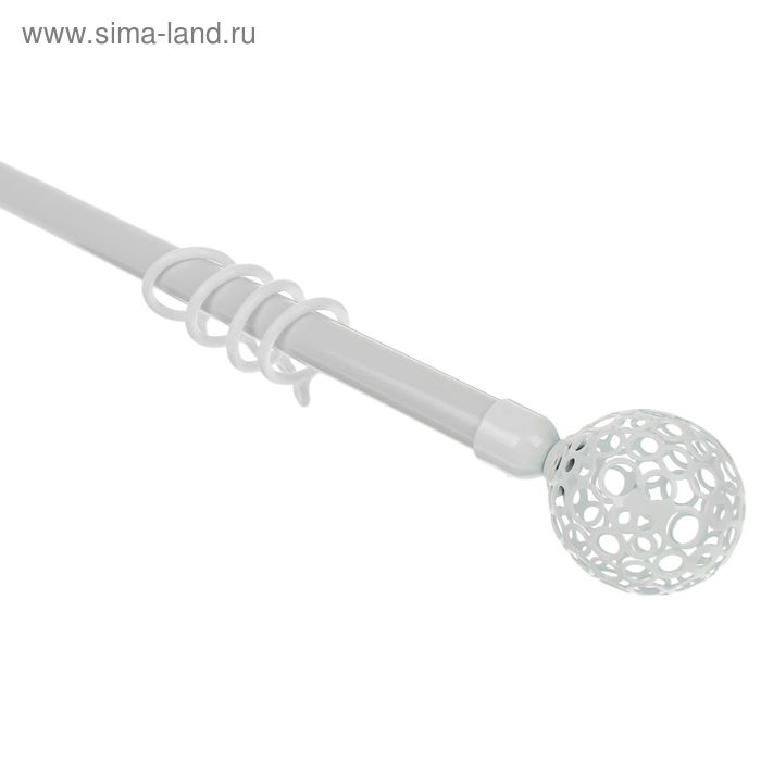 """Карниз однорядный раздвижной 120-210 см, d=16/19 мм """"Сфера"""", 16 колец, цвет белый"""
