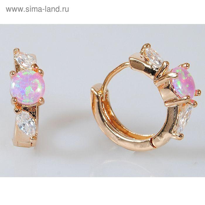 """Серьги """"Розовый японский опал, цирконы"""" 1 камень"""