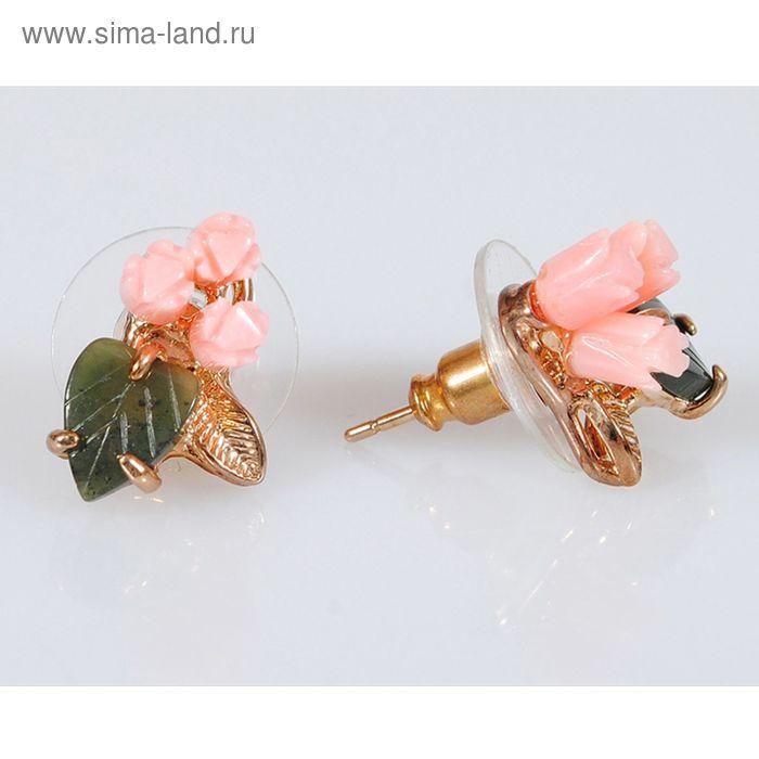 """Серьги """"Коралл, нефрит"""" 3 розы, 1 листок"""