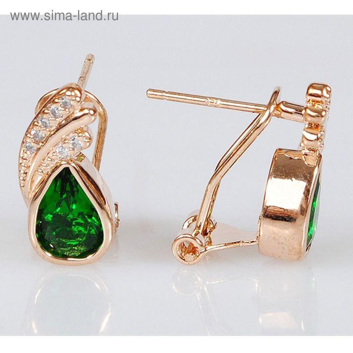 Серьги фианит зеленый крылья ангела (товар)