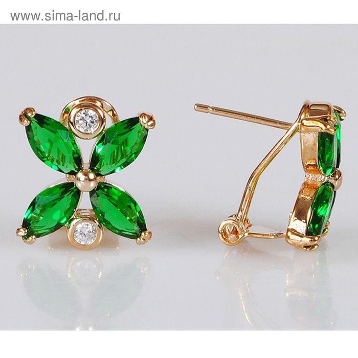 """Серьги """"Фианит, цирконы"""" зеленый цветочек"""