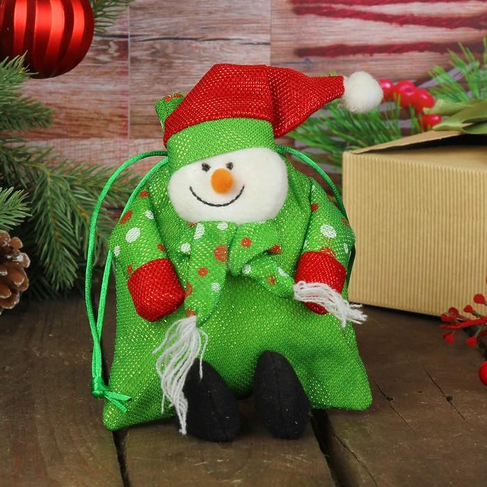 """Мешок для подарков """"Новый год"""", ручки в горох, с завязками, виды МИКС"""