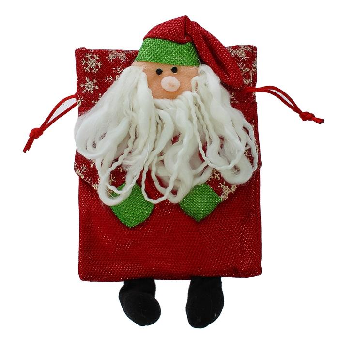 """Мешок для подарков """"Новогодний"""", снежинки на ручках, с завязками, виды МИКС"""