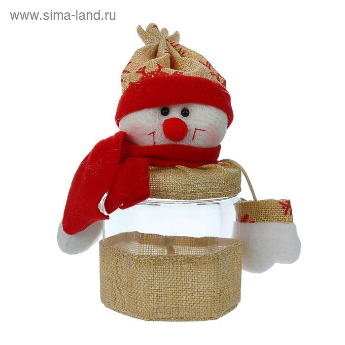 """Конфетница """"Новогодняя"""", снежинки на колпаке, 200 г, виды МИКС"""