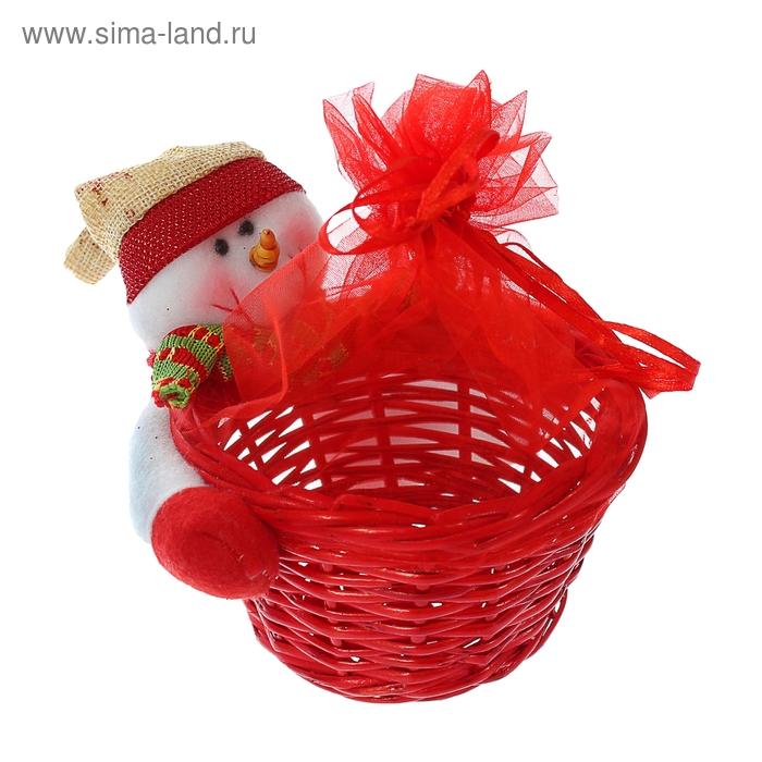"""Конфетница """"Снеговик в колпачке"""" с шарфом, 150-180 г"""