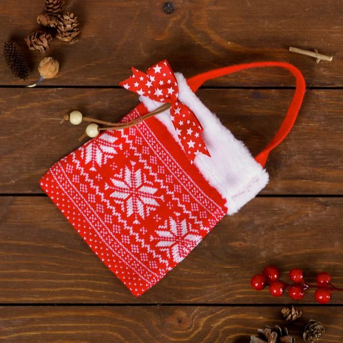 """Подарочная сумка """"Снежинки"""", с бантиком, 200 г"""