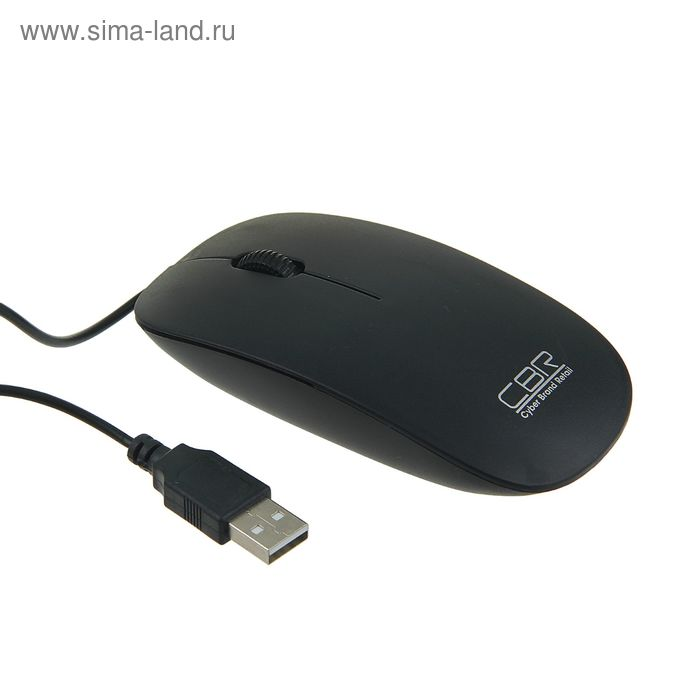 Мышь CBR CM 104 Black, оптическая, проводная, 1200 dpi, провод 1.2 м, USB, черная