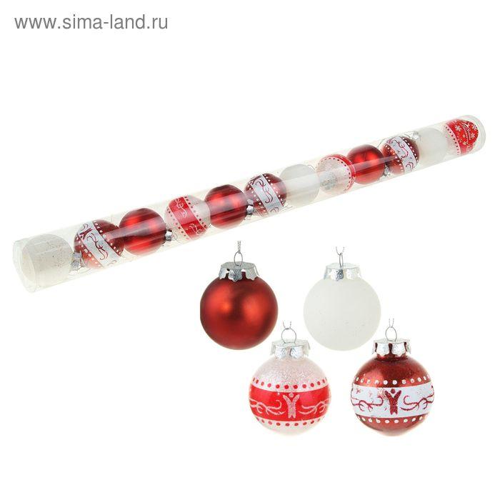 """Новогодние шары """"Бело-красное мерцание"""" (набор 12 шт.)"""