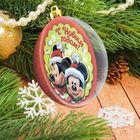 """Новогодний шар """"С Новым годом"""" Микки Маус и его друзья с 3D аппликацией + стразы, блестки 2 гр"""