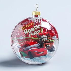 """Новогодний ёлочный шар """"Крутого Нового года"""" Тачки с 3D аппликацией"""