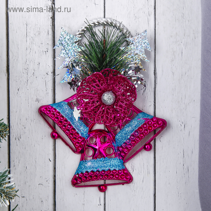 """Украшение новогоднее """"Колокольчики яркие с цветком"""" 12*15 см"""