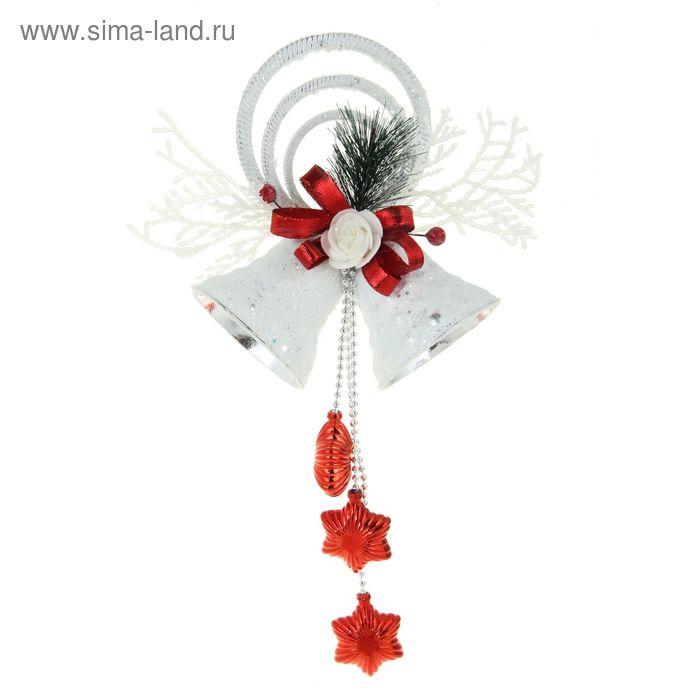 """Украшение новогоднее """"Колокольчики белые с красными звёздами"""" 15*37 см"""