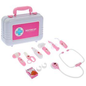 Набор доктора «Доктор-1» в чемодане, 9 предметов, световые и звуковые эффекты, цвет розовый