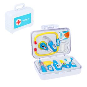 Набор доктора «Доктор-2» в чемодане, жёлто-голубой, 9 предметов, световые и звуковые эффекты