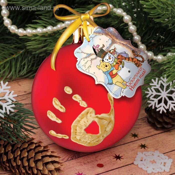 """Новогодний шар """"Отпечаток детской ручки"""", Медвежонок Винни и его друзья, красный"""