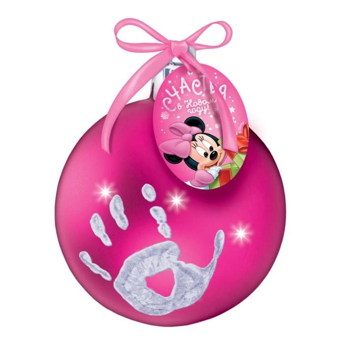 """Новогодний ёлочный шар """"Отпечаток детской ручки"""" Минни Маус, фуксия"""
