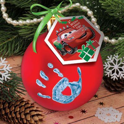 """Новогодний ёлочный шар """"Отпечаток детской ручки"""" Тачки, красный"""