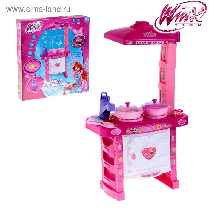 """Игровой набор кухня """"Волшебство"""", феи ВИНКС, световые и звуковые эффекты, работает от батареек, высота 51 см, БОНУС: 3D-Торт"""