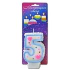 """Свеча для торта цифра """"Хамалеон"""" белая """"5"""", мигающая"""