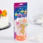 """Свеча для торта цифра """"Салют"""" белая """"2"""" мигающая"""