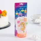 """Свеча для торта цифра """"Салют"""" белая """"3"""" мигающая"""