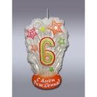 """Свеча для торта цифра """"Салют"""" белая """"6"""" мигающая"""