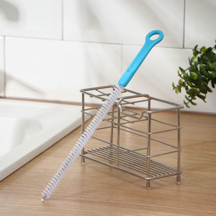Ершик для посуды узкий 30,5х2,5 см, цвет МИКС