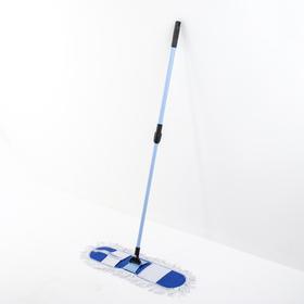 Швабра плоская Доляна, телескопическая ручка 72-120 см, широкая х/б насадка Ош