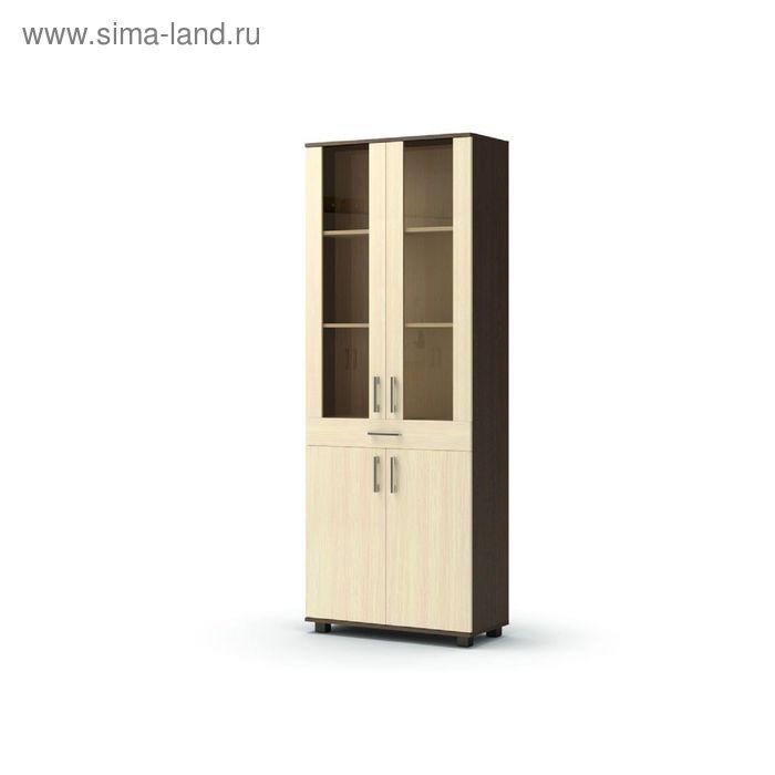 Шкаф витрина с ящиком МАКСИМ 802x360x2100  венге/дуб млечный