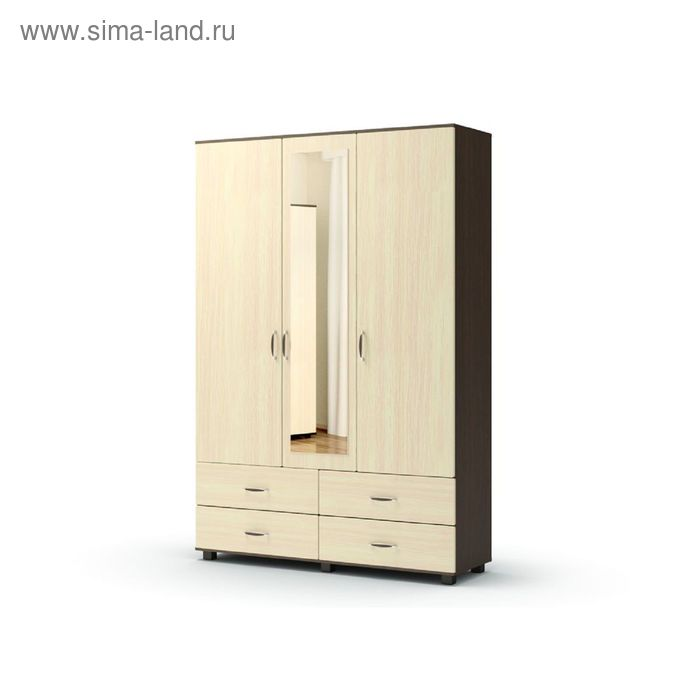 Шкаф 3 4 с зеркалом ВИКОНТ 1428х440х2100  венге/дуб млечный