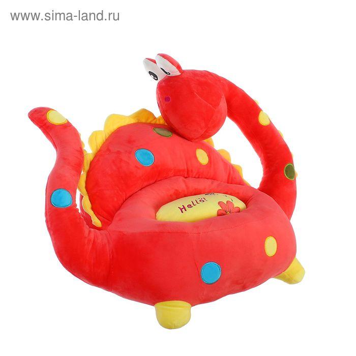 """Мягкая игрушка-кресло """"Динозаврик"""", большие глазки, цвет красный"""
