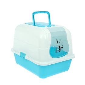 Туалет-домик большой с фильтром, совком и порожком, 51,5 х 40 х 38,5 см, голубой/белый