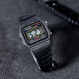 Часы наручные детские электронные, с силиконовым ремешком, черные, 22 см (3.5х2.7 см) Ош