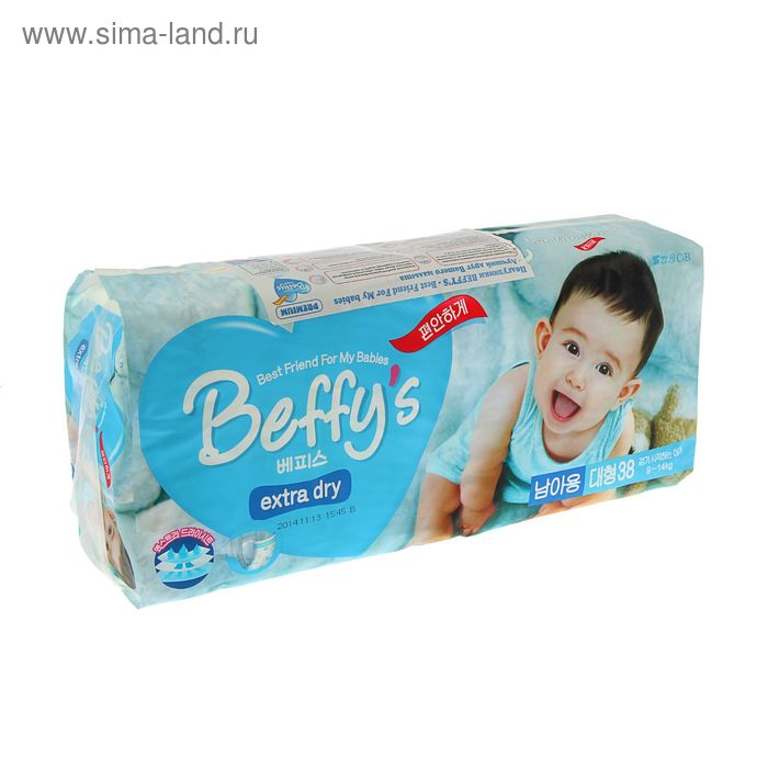 Подгузники Beffy's extra dry L (9–14 кг) для мальчиков, 38 шт.