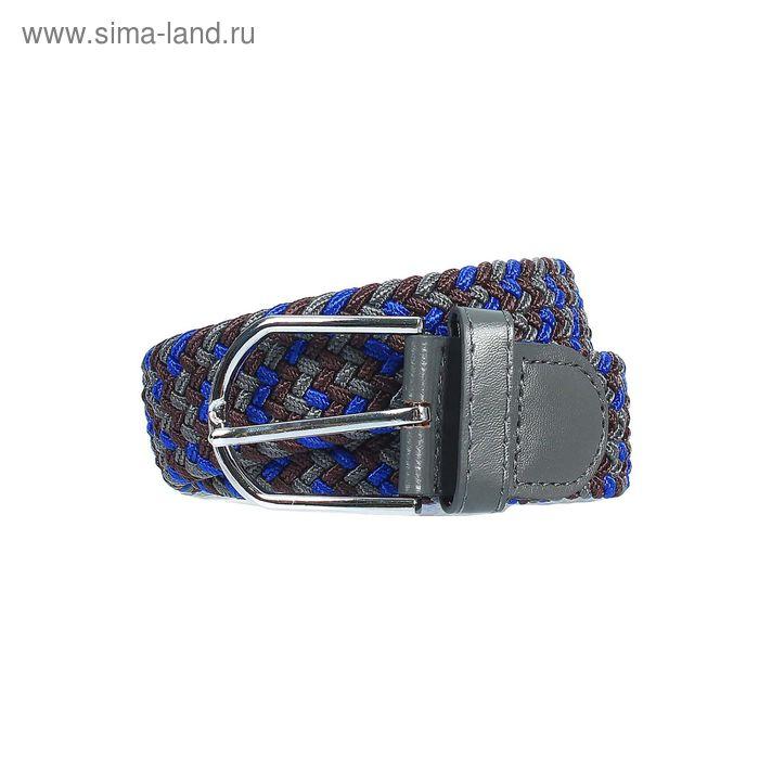 Ремень мужской, пряжка под металл, ширина - 3,5см, синий/коричневый/серый
