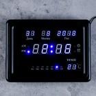 Часы настенные электронные: время, будильник, календарь, синие цифры, чёрный обод