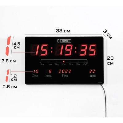 Часы настенные электронные с календарём и термометром, красные цифры 33х20х3 см
