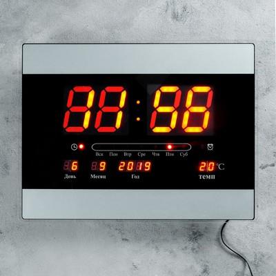 Часы настенные электронные с календарём и будильником, красные цифры, 40х30х5 см