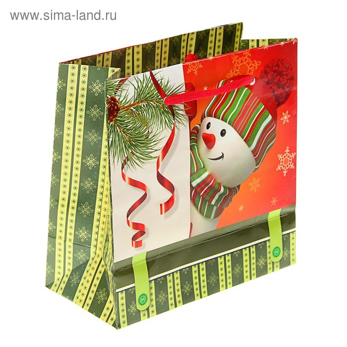 """Пакет подарочный """"Озорной снеговик"""" 16 х 16 х 7.6 см"""