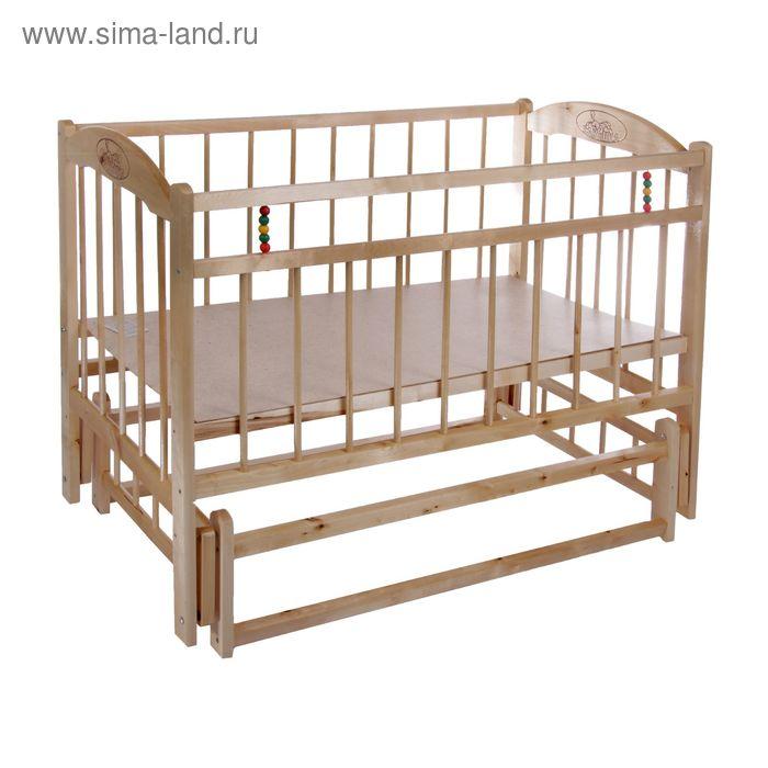 Детская кроватка «Заюшка» на маятнике или колёсах, цвет натуральный