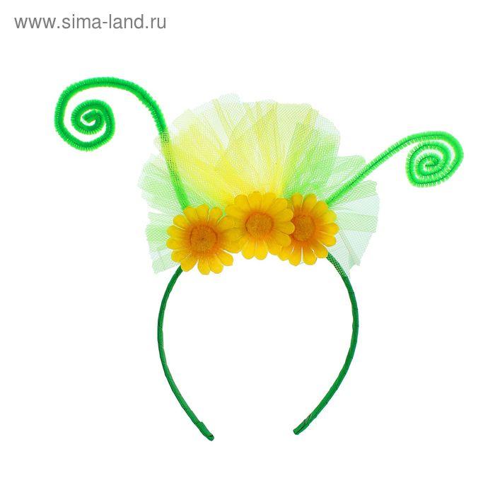 """Карнавальный ободок """"Цветочки"""", цвет зеленый"""