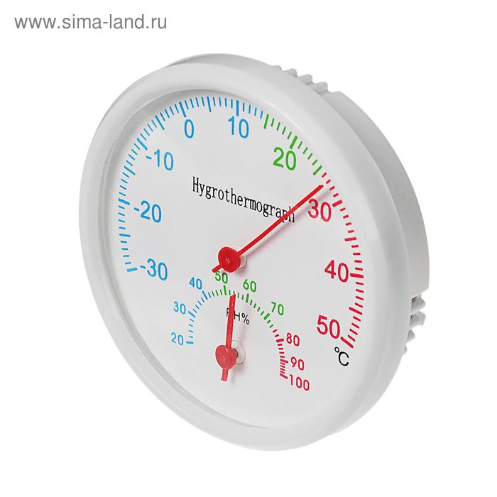 Термометр уличный, гигрометр, d=6.5, белый
