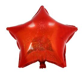 Шар фольгированный Звезда 18' Голография Красный Ош
