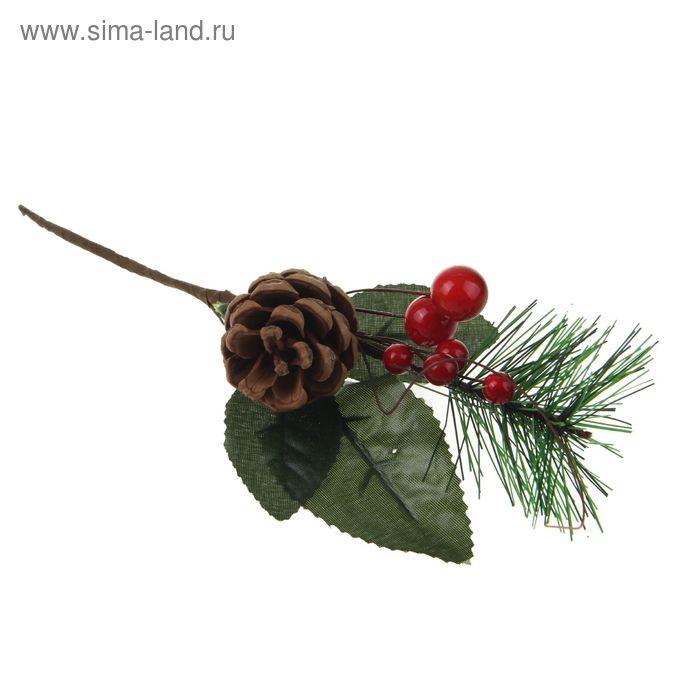 """Декор """"Зимние мечты"""" шишка, ягоды, листочки, 19 см"""