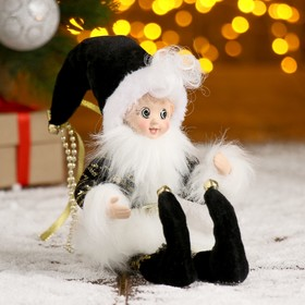 """Christmas ornament """"Jester"""" in a black camisole with fringes"""