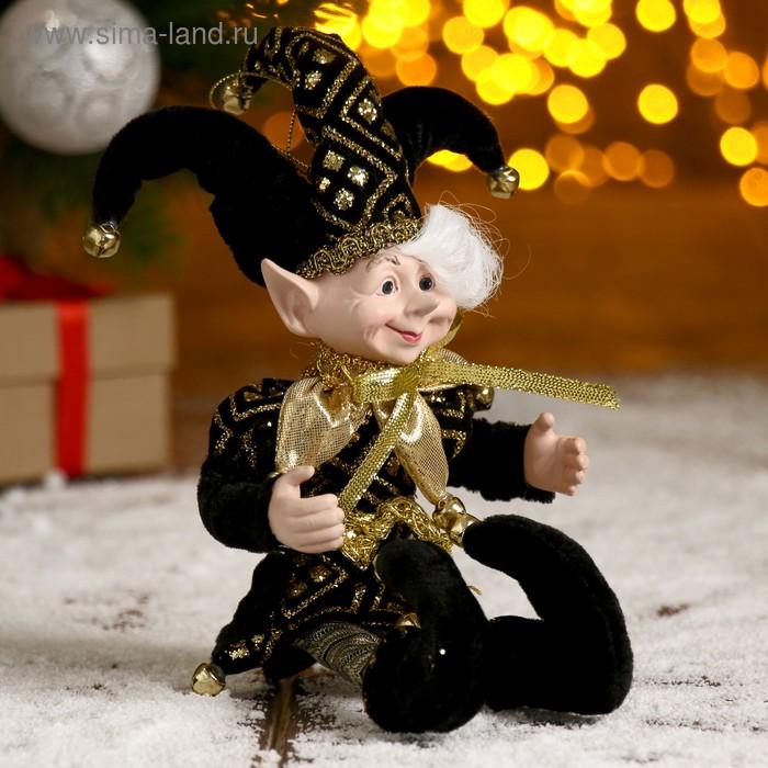 """Новогоднее украшение """"Шут"""" эльф в чёрном камзоле и тройном колпаке"""