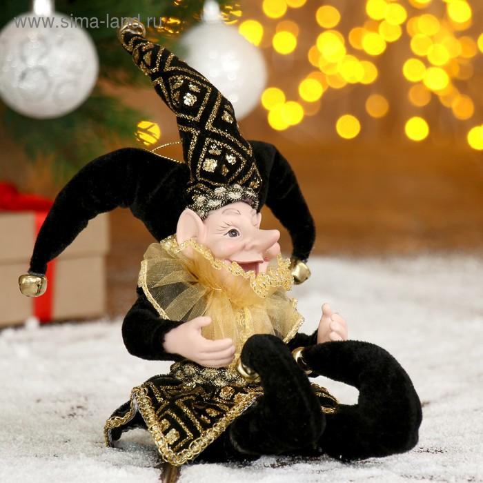 """Новогоднее украшение """"Шут"""" в чёрном камзоле и тройном колпаке"""