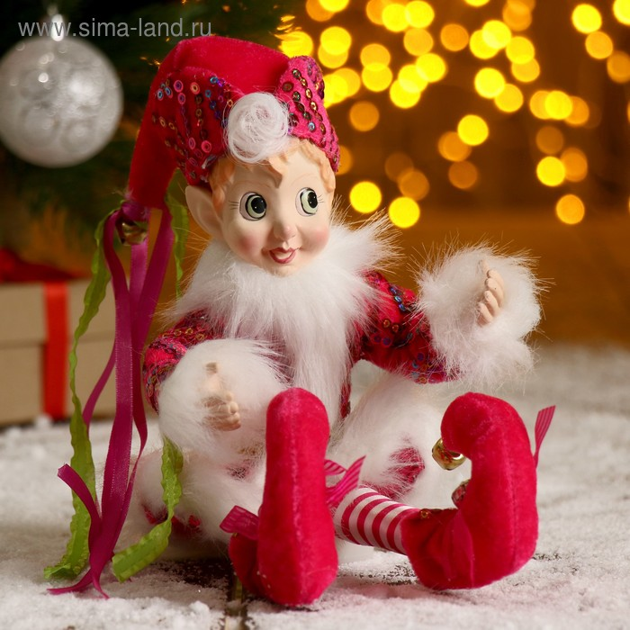 """Новогоднее украшение """"Шут"""" мальчик в розовом камзоле с опушкой"""