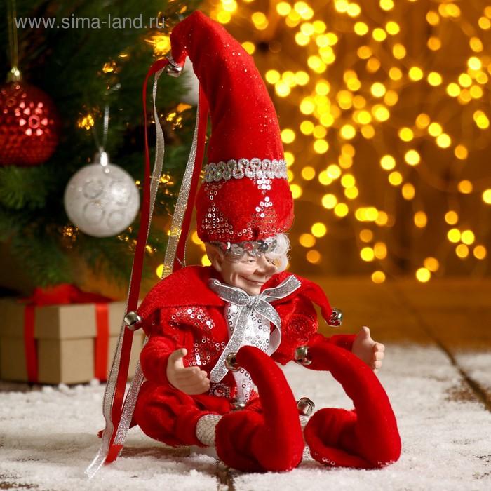 """Новогоднее украшение """"Шут"""" гном в красном камзоле"""
