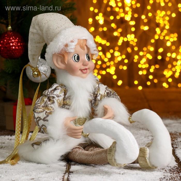 """Новогоднее украшение """"Шут"""" мальчик в белом камзоле с опушкой, большой"""